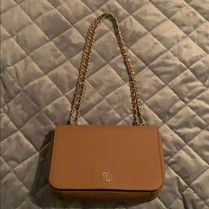 Tory Burch Cognac Gold Chain Crossbody Bag!